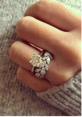 Engagement Ring in the bottom of Wedding Ring